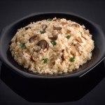 Risotto de arroz integral con vegetales y hongos shiitake