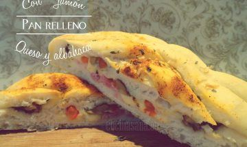 pan relleno de jamón, albahaca y queso