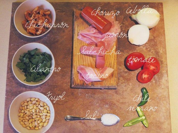 ingredientes frijoles charros