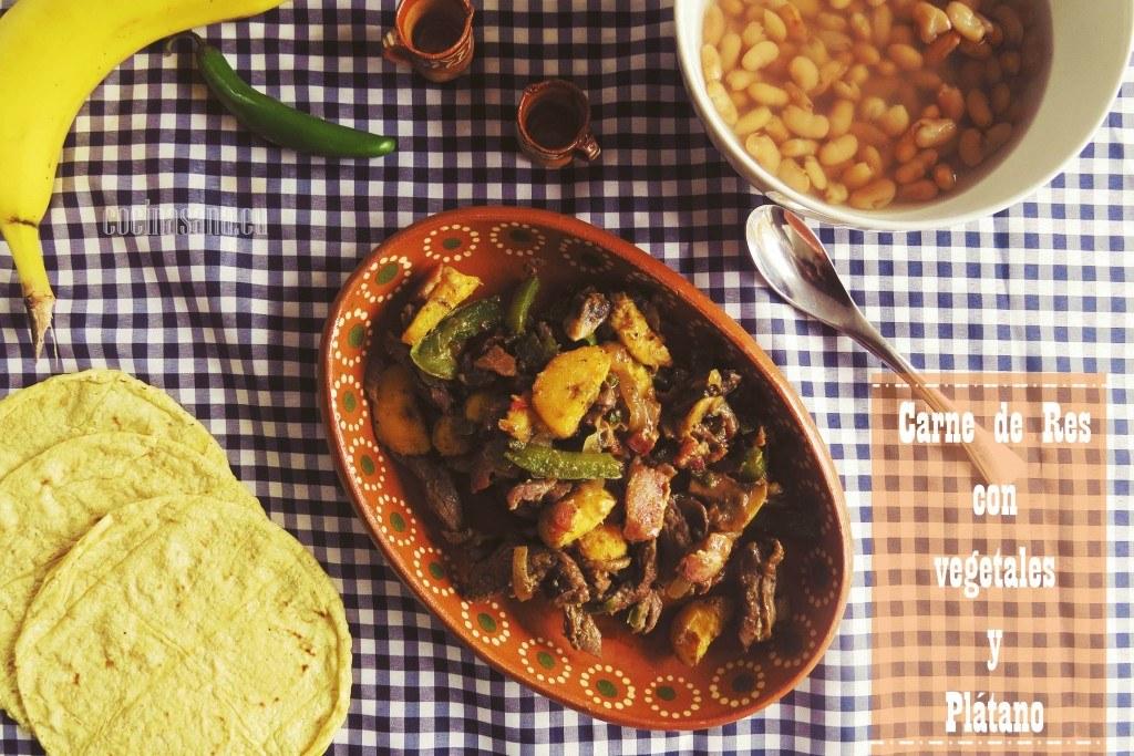 Receta de Carne de Res (ternera) con Verduras y Plátano